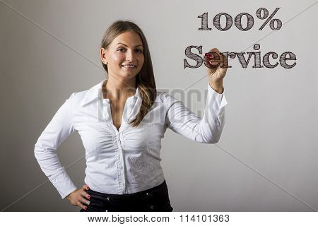 100% Service - Beautiful Girl Writing On Transparent Surface