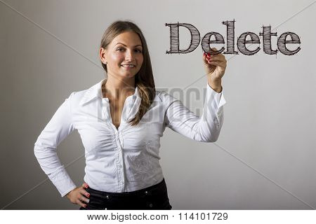 Delete - Beautiful Girl Writing On Transparent Surface