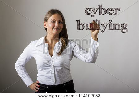 Cyber Bullying - Beautiful Girl Writing On Transparent Surface