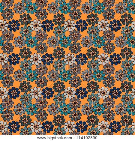 Floral Vector Illustration In Shades Of Blue On Oprange Background.