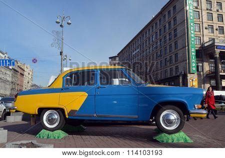 KIEV , UKRAINE - NOV 1, 2015. Exterior of the vintage Soviet car GAZ-21 Volga with folk stile tuning on November 1, 2015 in Kiev, Ukraine