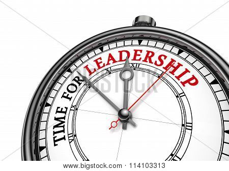 Time For Leadership Red Message On Concept Clock