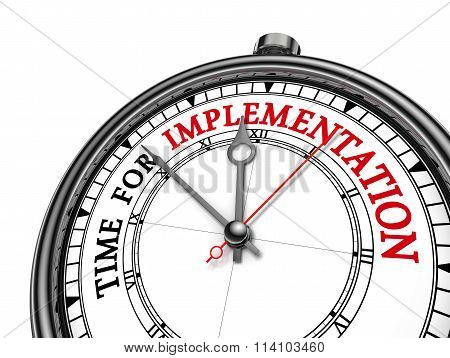 Time For Implementation Motivation Message On Concept Clock