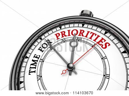 Time For Priorities Motivation Message On Concept Clock