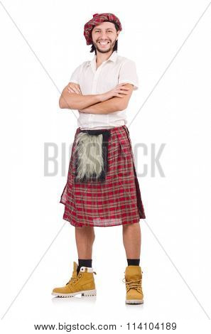 Happy Scotsman isolated on white