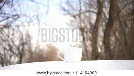 White Mug Stands On The Snow.