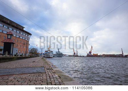 Harbor in cloudy windy day, Gothenbur, Sweden