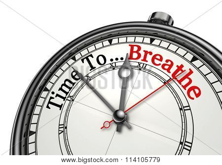 Time To Breathe Red Word On Concept Clock