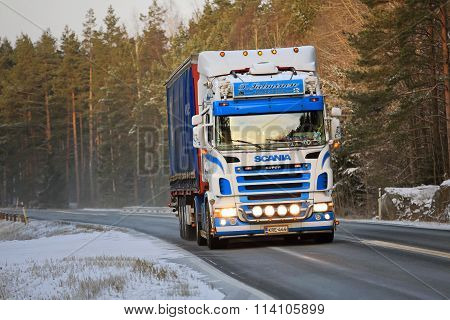 Colorful Scania Semi Truck On Winter Road