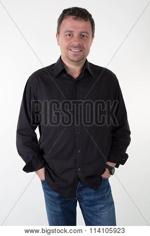 Portrait Of Happy Businessman. With Arms Crossed Isolated On White Background