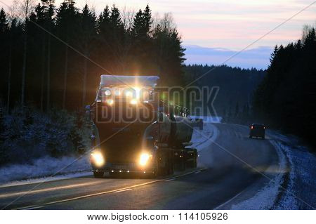 Scania Tank Truck Lights In Winter Night
