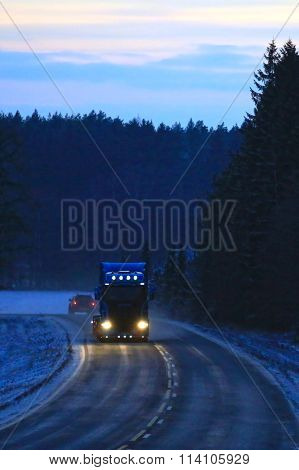 Blue Scania Truck in Twilight