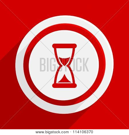 time red flat design modern vector icon for web and mobile app
