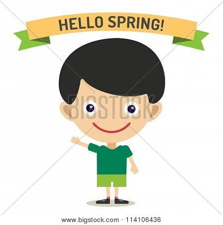 Hello Summer cartoon boy with hands up vector illustration. Boy summer greeting design. Kid summer dress. Children boy vector