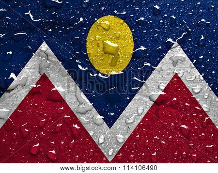 flag of Denver with rain drops