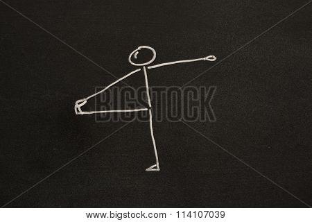 Yoga exercise on blackboard