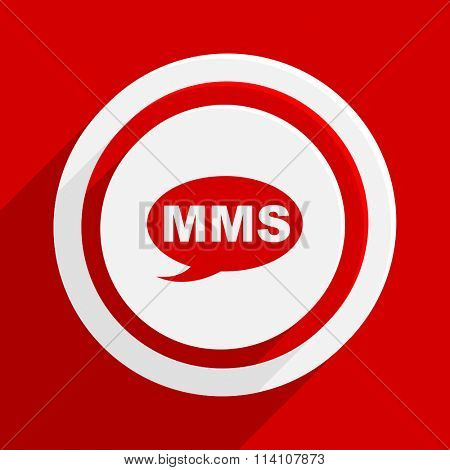 mms red flat design modern vector icon for web and mobile app