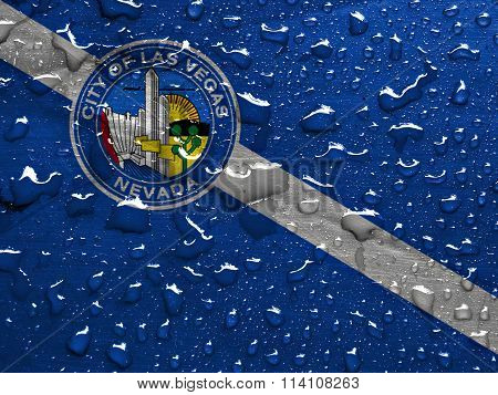 flag of Las Vegas with rain drops