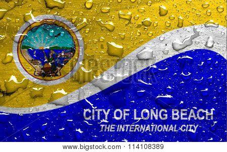 flag of Long Beach with rain drops