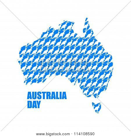 Australia Day. Map Of Australia From Kangaroo. Continent States And Wild Marsupial Animal. National