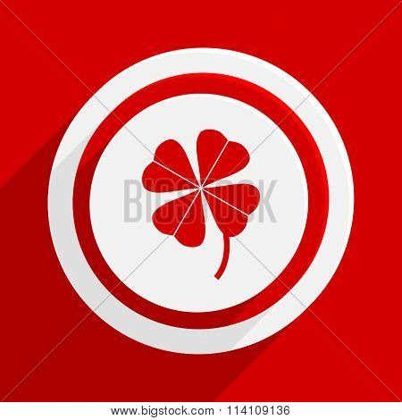 four-leaf clover red flat design modern vector icon for web and mobile app