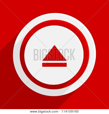eject red flat design modern vector icon for web and mobile app