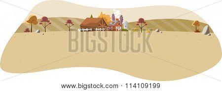 Cartoon farm with big barn