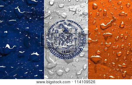 flag of New York City with rain drops