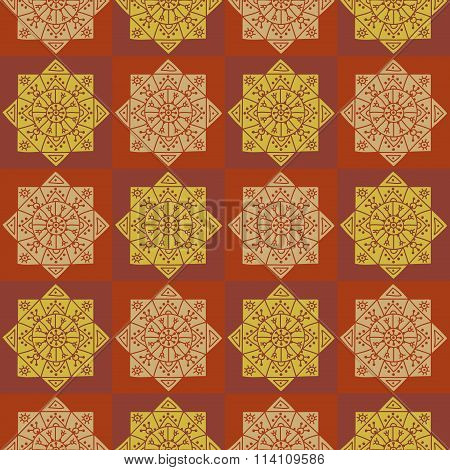 Seamless checkered pattern with ethnic rosettes on a dark background