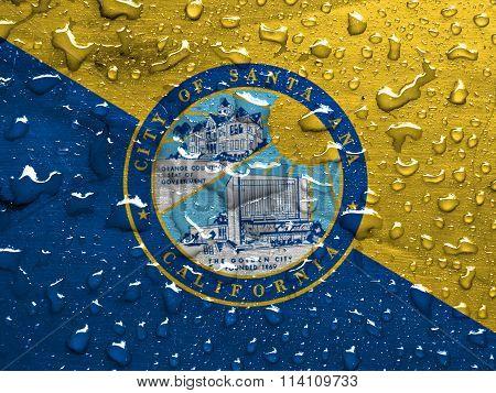 flag of Santa Ana with rain drops