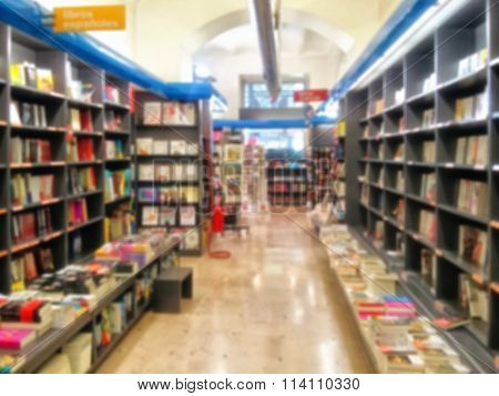 Inside a library, blurred image