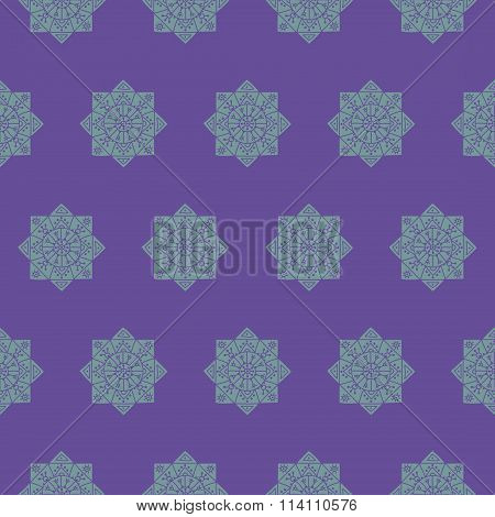 Seamless pattern with ethnic rosettes on a violet background
