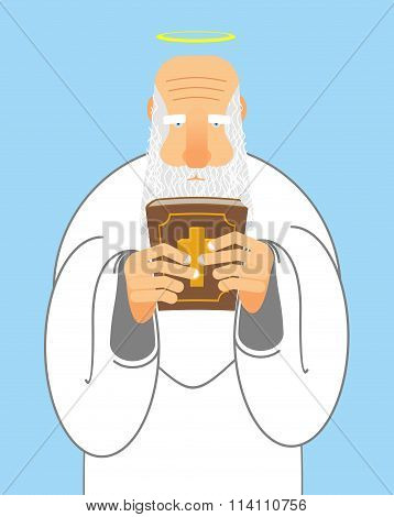 God And Bible. Old Man With Beard Holds  Holy Bible. New Testament And Good Grandpa With Halo. Relig