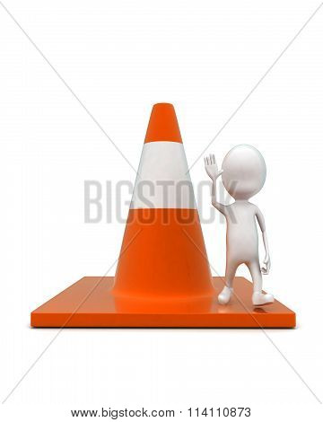 3D Man Waving Hands And Standing On Large Traffic Cone Concept