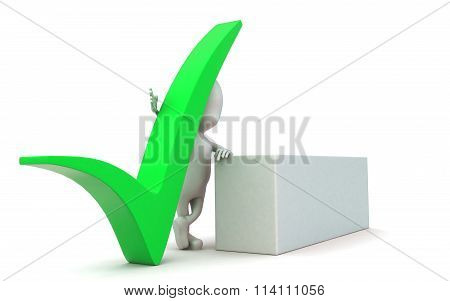 3D Man With Accepted Tick Sign And A White Banner Concept