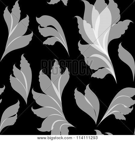 Seamless floral white and black pattern