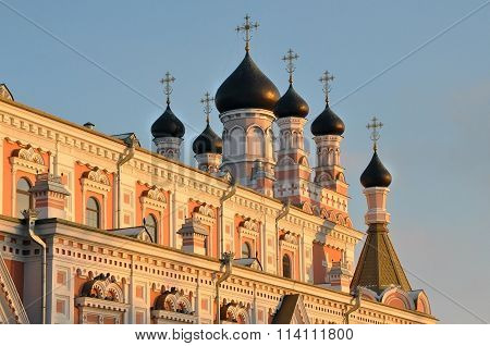 Facade of Orthodox church in Grodno, Belarus