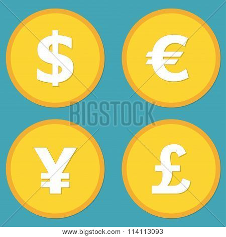 Currency symbols and money coins. Dollar, euro, yen and pound buttons. Stock and finance design.