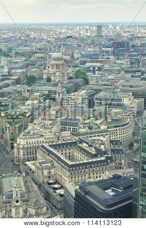 Aerial panoramic day view of historical City of London