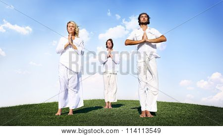 People Yoga Meditation Nature Peaceful Concept