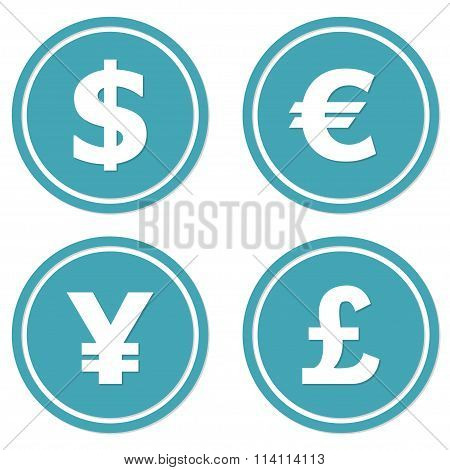 Currency icons set. Dollar, euro, yen and pound symbols. Vector illustration.