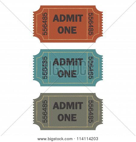 Admit one ticket set. Colorful vector illustration of cinema or theater retro ticket.