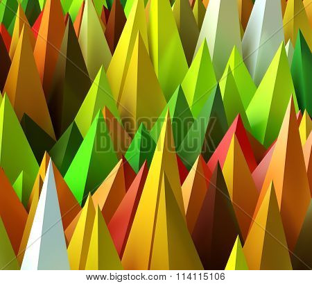 3D Rendered Image Of Sharp Random Pyramids As Abstract Futuristic Background