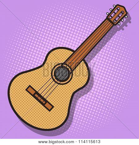 Guitar hand drawn pop art style vector