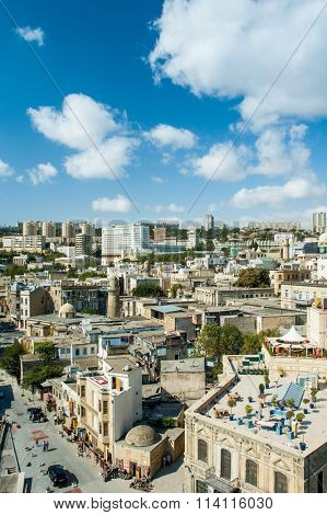 View of Baku Azerbaijan on bright summer day