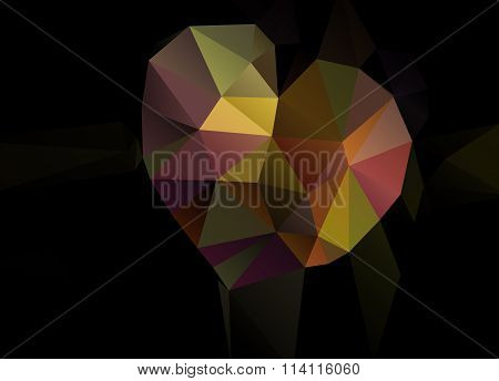 Abstract Vector Background With Heart Of Triangles Polygon Wallpaper. Valentines Day, With Love