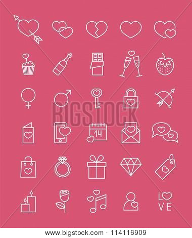 set of minimalistic line valentine's day icons
