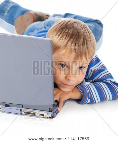 Five Years Old Boy with Laptop Isolated on White
