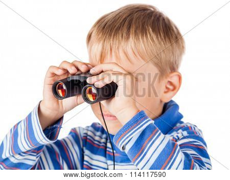 Playful Little Boy with Binoculars