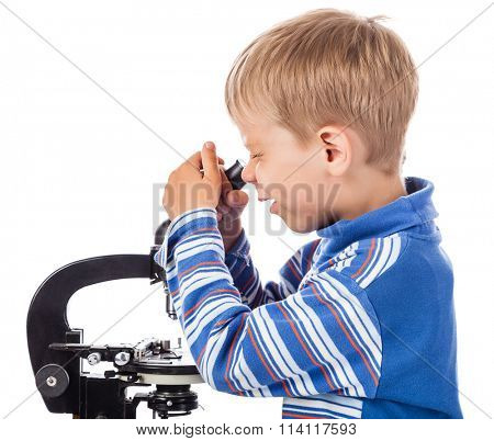 Playful Little Boy with Microscope